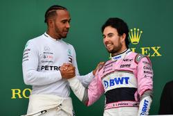 Race winner Lewis Hamilton, Mercedes-AMG F1 and Sergio Perez, Force India celebrate on the podium
