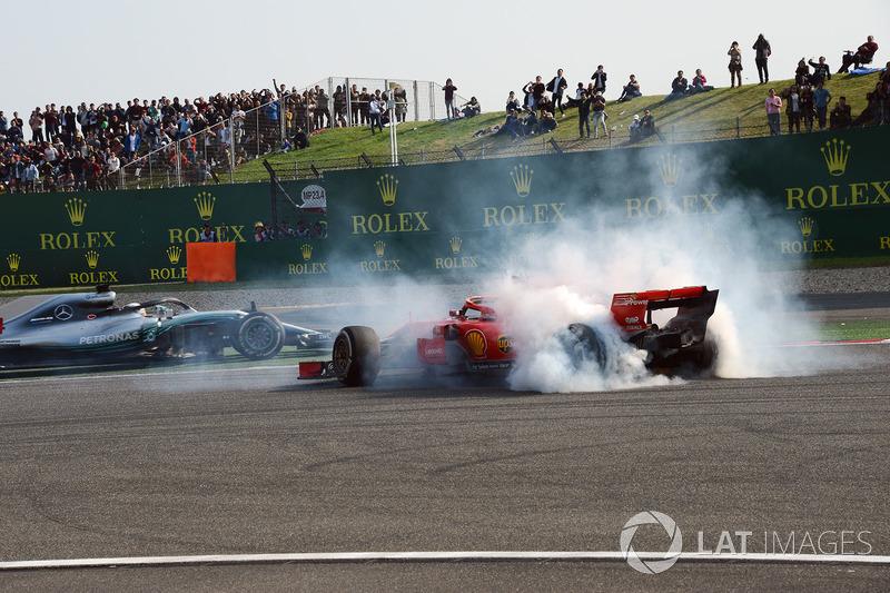 Sebastian Vettel, Ferrari SF71H, melintir