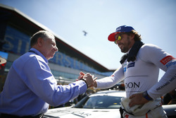 Jean Todt, President, FIA, and Fernando Alonso, McLaren, on the grid