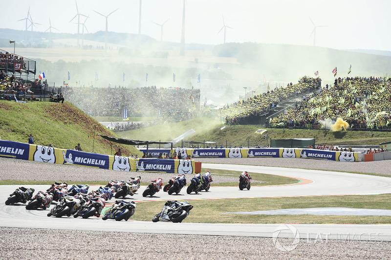 Під час гонки, лідер Хорхе Лоренсо Ducati Team
