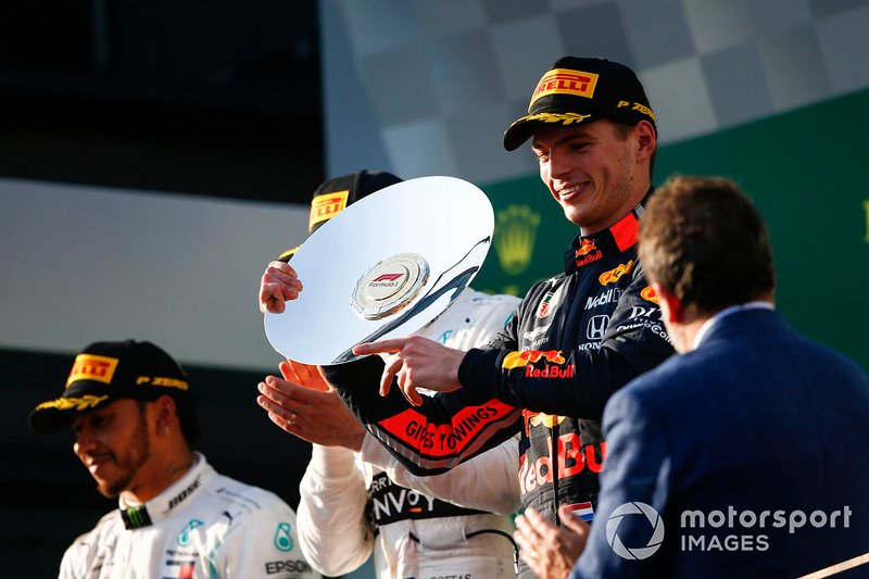Max Verstappen, Red Bull Racing, 3rd position, displays his trophy