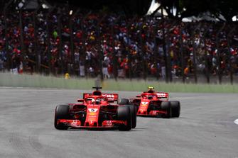 Sebastian Vettel, Ferrari SF71H and Kimi Raikkonen, Ferrari SF71H on the grid