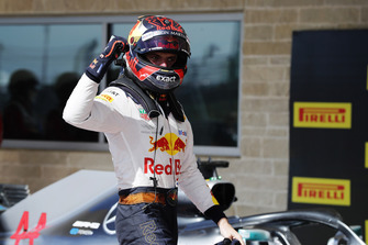 Max Verstappen, Red Bull Racing, celebrates after taking second position