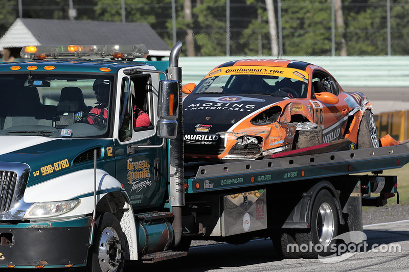 #56 Murillo Racing Porsche Cayman: Jeff Mosing, Eric Foss dopo un incidente