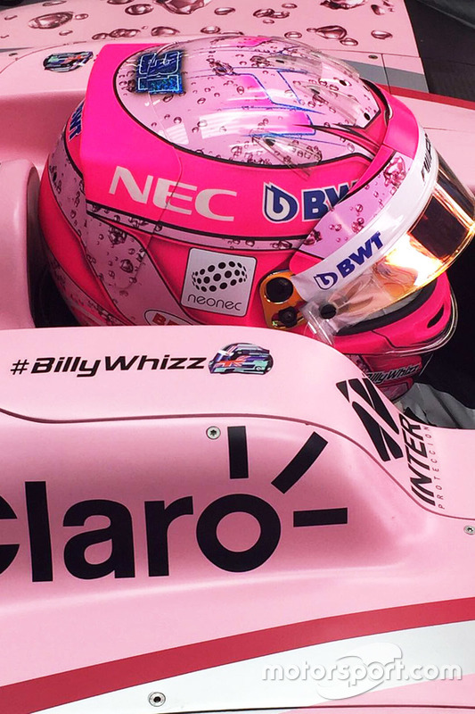 Esteban Ocon, Sahara Force India F1 VJM10 con el lema #BillyWhizz