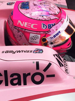 Esteban Ocon, Sahara Force India F1 VJM10 with #BillyWhizz signage