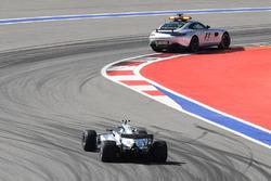 Safety car leads Valtteri Bottas, Mercedes AMG F1 W08
