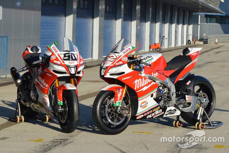 Motos de Lorenzo Savadori y Eugene Laverty, Milwaukee Aprilia World Superbike Team