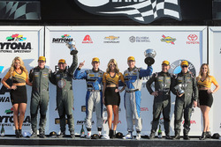Podium GS: race winners Cameron Cassels, Trent Hindman, Bodymotion Racing, second place Marc Miller,