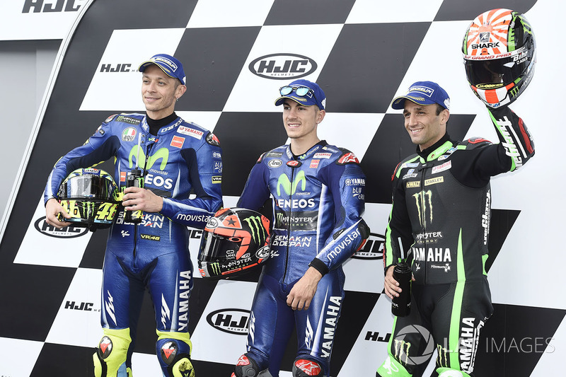 Qualifying top three: polesitter Maverick Viñales, Yamaha Factory Racing, second place Valentino Rossi, Yamaha Factory Racing, third place Johann Zarco, Monster Yamaha Tech 3