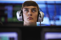 GP3 racer George Russell in the Mercedes garage