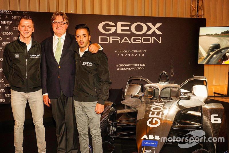 Maximilian Günther and Antonio Fuoco with Mario Moretti Polegato, President and Founder of GEOX