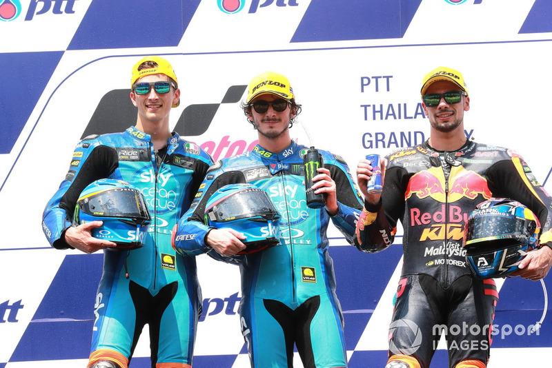 Luca Marini, Sky Racing Team VR46 Francesco Bagnaia, Sky Racing Team VR46 Miguel Oliveira, Red Bull KTM Ajo