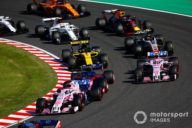 Sergio Perez, Racing Point Force India VJM11, Esteban Ocon, Racing Point Force India VJM11, Carlos Sainz Jr., Renault Sport F1 Team R.S. 18, Kevin Magnussen, Haas F1 Team VF-18, Daniel Ricciardo, Red Bull Racing RB14, Charles Leclerc, Sauber C37, Fernando Alonso, McLaren MCL33, y Lance Stroll, Williams FW41