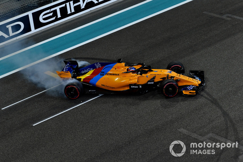 Fernando Alonso, McLaren MCL33 donuts at the end of the race