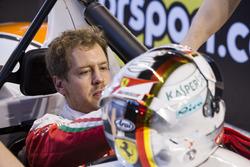 Sebastian Vettel, in the pits