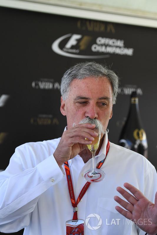 Чейз Кері, голова групи Формули 1, на презентації офіційного напою Ф1 шампанського Carbon