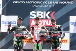Podium: 1. Chaz Davies, Ducati Team; 2. Jonathan Rea, Kawasaki Racing; 3. Tom Sykes, Kawasaki Racing
