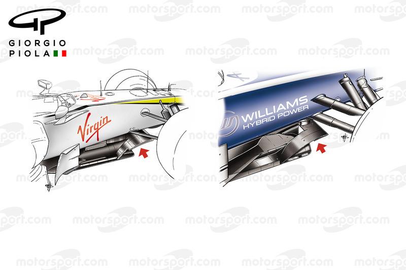 Brawn BGP01 and Williams FW32 splitters