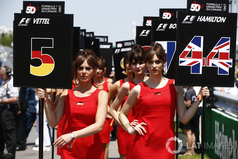 Gridgirls für Lewis Hamilton, Mercedes AMG F1, und Sebastian Vettel, Ferrari