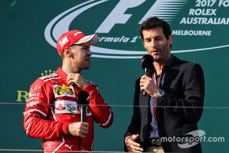 Podio: Sebastian Vettel, Ferrari, Mark Webber