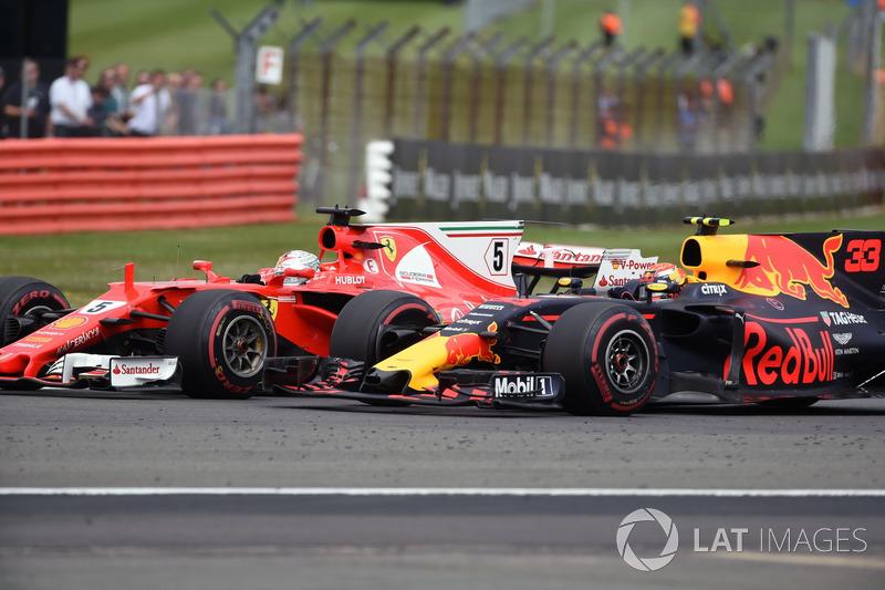 Sebastian Vettel, Ferrari SF70H e Max Verstappen, Red Bull Racing RB13