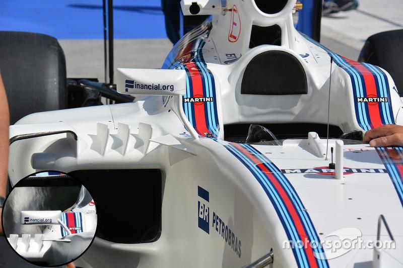 Williams FW38: Rückspiegelhalterung, Vergleich