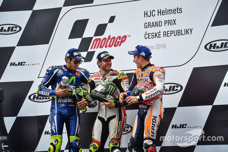 Podio: il vincitore della gara Cal Crutchlow, Team LCR Honda, il secondo classificato Valentino Rossi, Yamaha Factory Racing, il terzo classificato Marc Marquez, Repsol Honda Team