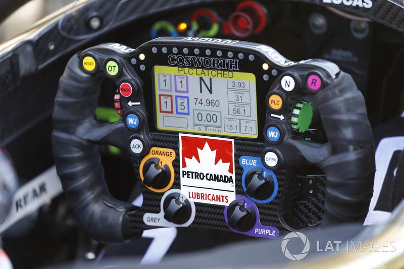 Le volant et le cockpit de James Hinchcliffe, Schmidt Peterson Motorsports Honda