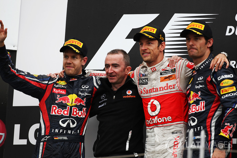 Podium: Sebastian Vettel, Red Bull Racing, Paddy Lowe, McLaren Technical Director, Jenson Button, McLaren and Mark Webber, Red Bull Racing
