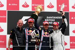 Podium: Adrian Newey, Red Bull Racing Chief Technical Officer, second place Mark Webber, Red Bull Racing, Race winner Sebastian Vettel, Red Bull Racing, third place Rubens Barrichello, Brawn GP
