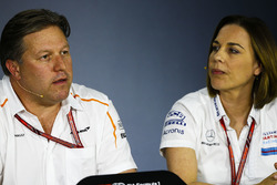 Zak Brown, Executive Director, McLaren Technology Group, and Claire Williams, Deputy Team Principal, Williams Martini Racing, in the team principals Press Conference