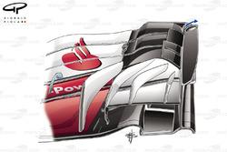 Ferrari SF70H, részlet az első szárnyból