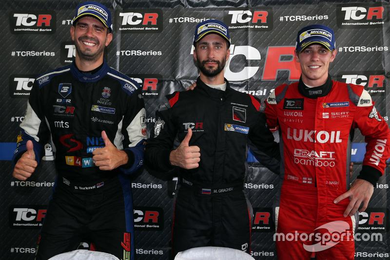 Press conference: Race winner Mikhail Grachev, Honda Civic TCR , WestCoast Racing; second place Dusa
