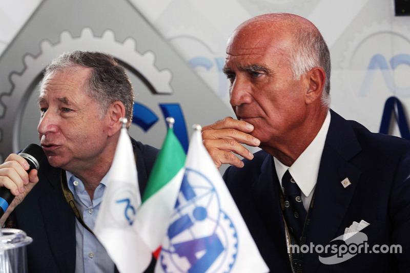 (Da sx a dx): Jean Todt, Presidente FIA con il Dr. Angelo Sticchi Damiani, Presidente Aci Csai all'annuncio al circuito di Monza