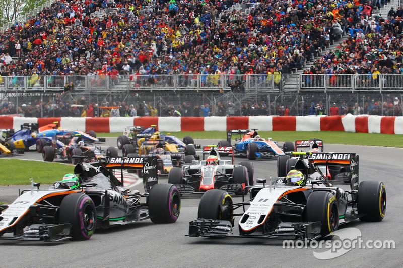 Ніко Хюлькенберг, Sahara Force India F1 VJM09 та Серхіо Перес, Sahara Force India F1 VJM09 на старті гонки