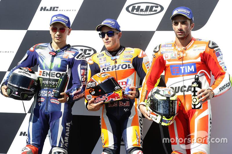 Polesitter Marc Marquez, 2. Jorge Lorenzo, 3. Andrea Iannone