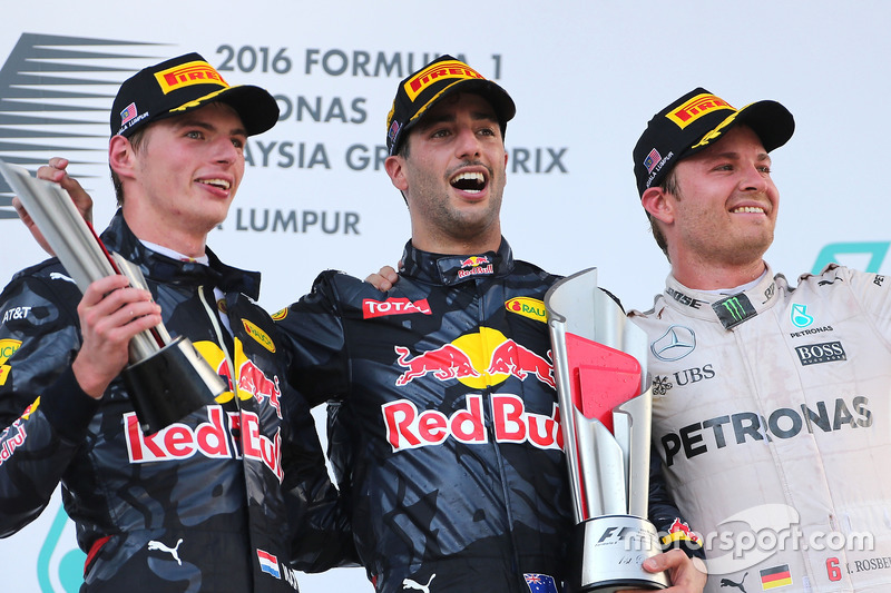 Podium: Second place Max Verstappen, Red Bull Racing, race winner Daniel Ricciardo, Red Bull Racing and third place Nico Rosberg, Mercedes AMG F1 Team