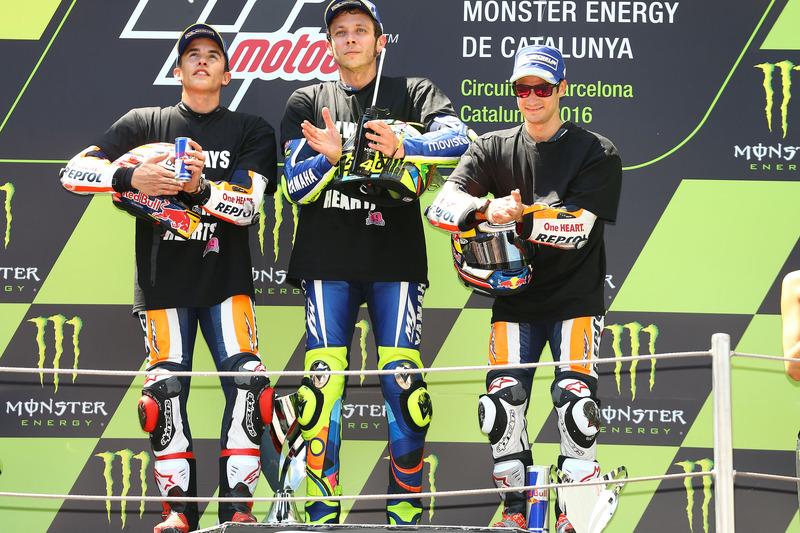 Marc Marquez, Repsol Honda Team; Valentino Rossi, Yamaha Factory Racing, Dani Pedrosa, Repsol Honda Team