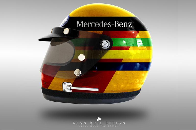 Casco concepto 1970 de Lewis Hamilton