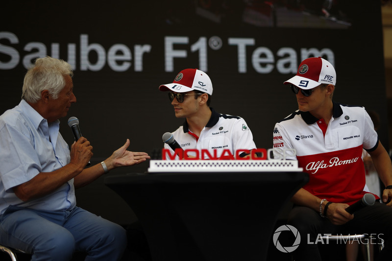 Charles Leclerc, Sauber and Marcus Ericsson, Sauber talks with Bob Constanduros, on stage