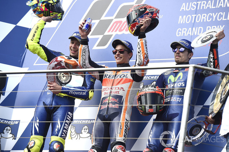 Podium: race winner Marc Marquez, Repsol Honda Team, second place Valentin Rossi, Yamah Factory Racing, third place Maverick Viñales, Yamaha Factory Racing