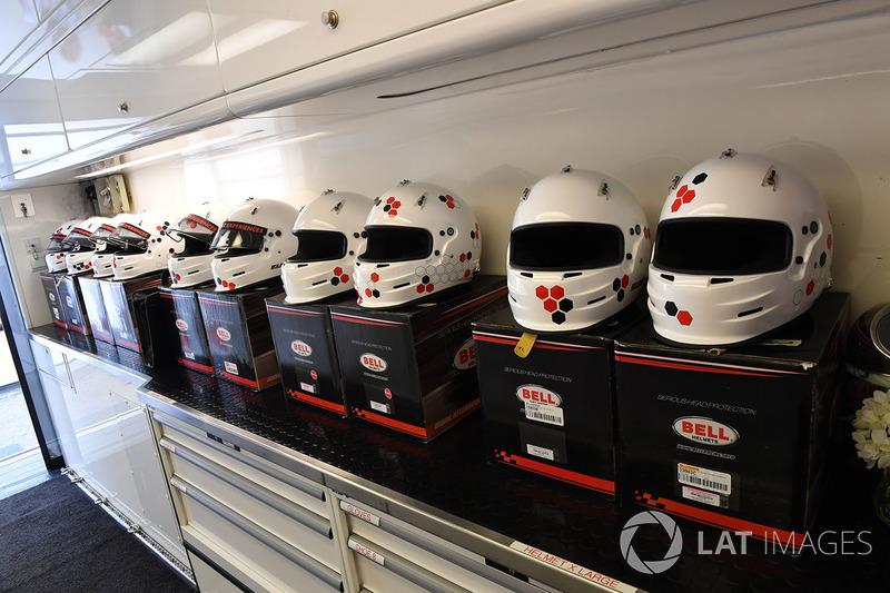 Helmets in the F1 Experiences garage