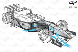 McLaren MP4-14 3/4 view, predicted airflow shown in blue