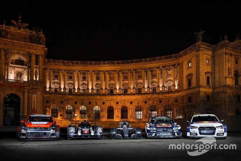 Citroën C-Elysee WTCC, Citroën World Touring Car Team; Porsche 919 Hybrid, Porsche Team; Mercedes AMG F1 W07 Hybrid; Volkswagen Polo WRC, Volkswagen Motorsport; Audi S1, EKS RX