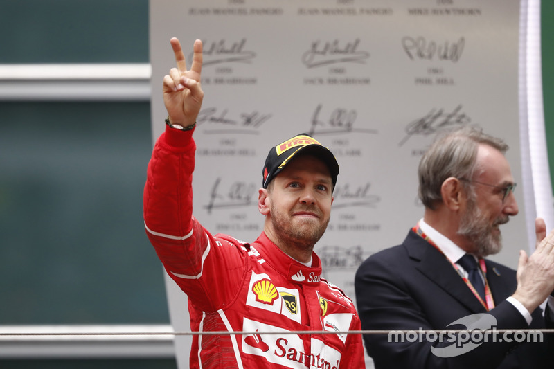 Sebastian Vettel, Ferrari, on the podium