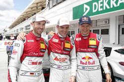 Polesitter René Rast, Audi Sport Team Rosberg, Audi RS 5 DTM; 2. Jamie Green, Audi Sport Team Rosberg, Audi RS 5 DTM; 3. Mattias Ekström, Audi Sport Team Abt Sportsline, Audi A5 DTM