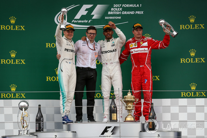 British GP - Podium: Lewis Hamilton, 2. Valtteri Bottas, 3. Kimi Raikkonen