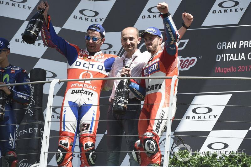 Podium: Danilo Petrucci, Pramac Racing, Claudio Domenicali, CEO Ducati dan Andrea Dovizioso, Ducati Team