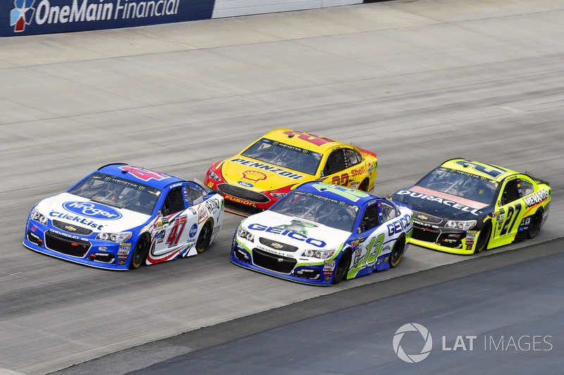 A.J. Allmendinger, JTG Daugherty Racing, Chevrolet; Ty Dillon, Germain Racing, Chevrolet; Joey Logano, Team Penske, Ford